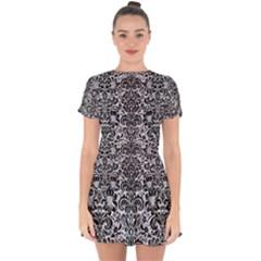 Damask2 Black Marble & Silver Glitter Drop Hem Mini Chiffon Dress by trendistuff