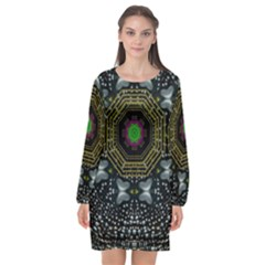 Leaf Earth And Heart Butterflies In The Universe Long Sleeve Chiffon Shift Dress  by pepitasart