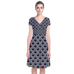 Scales2 Black Marble & Silver Glitter (r) Short Sleeve Front Wrap Dress