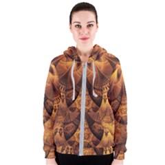 Beautiful Gold And Brown Honeycomb Fractal Beehive Women s Zipper Hoodie by jayaprime