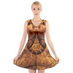 Beautiful Gold And Brown Honeycomb Fractal Beehive V Neck Sleeveless Skater Dress by jayaprime