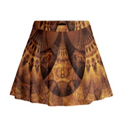 Beautiful Gold And Brown Honeycomb Fractal Beehive Mini Flare Skirt by jayaprime