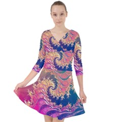 Rainbow Octopus Tentacles In A Fractal Spiral Quarter Sleeve Front Wrap Dress	 by jayaprime