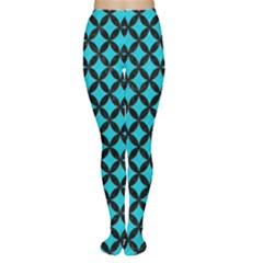 Circles3 Black Marble & Turquoise Colored Pencil Women s Tights by trendistuff