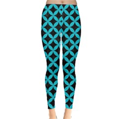 Circles3 Black Marble & Turquoise Colored Pencil (r) Leggings  by trendistuff