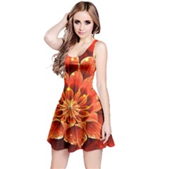 Beautiful Ruby Red Dahlia Fractal Lotus Flower Reversible Sleeveless Dress by jayaprime