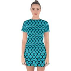 Scales1 Black Marble & Turquoise Colored Pencil Drop Hem Mini Chiffon Dress by trendistuff