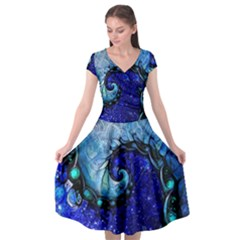 Nocturne Of Scorpio, A Fractal Spiral Painting Cap Sleeve Wrap Front Dress by jayaprime
