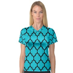 Tile1 Black Marble & Turquoise Colored Pencil V Neck Sport Mesh Tee by trendistuff