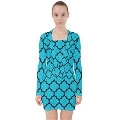 Tile1 Black Marble & Turquoise Colored Pencil V Neck Bodycon Long Sleeve Dress by trendistuff