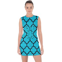 Tile1 Black Marble & Turquoise Colored Pencil Lace Up Front Bodycon Dress by trendistuff