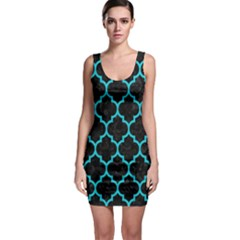 Tile1 Black Marble & Turquoise Colored Pencil (r) Bodycon Dress by trendistuff