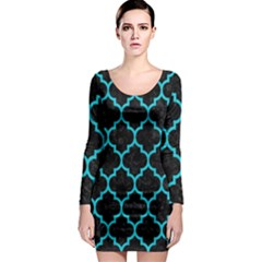 Tile1 Black Marble & Turquoise Colored Pencil (r) Long Sleeve Bodycon Dress by trendistuff