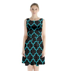 Tile1 Black Marble & Turquoise Colored Pencil (r) Sleeveless Waist Tie Chiffon Dress by trendistuff