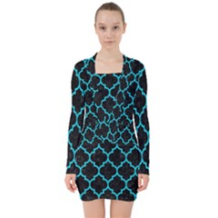 Tile1 Black Marble & Turquoise Colored Pencil (r) V Neck Bodycon Long Sleeve Dress by trendistuff