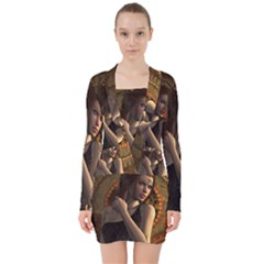 Wonderful Steampunk Women With Clocks And Gears V Neck Bodycon Long Sleeve Dress by FantasyWorld7
