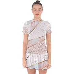 Collage,white Marble,gold,silver,black,white,hand Drawn, Modern,trendy,contemporary,pattern Drop Hem Mini Chiffon Dress by 8fugoso