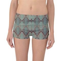 Art Deco Teal Brown Reversible Boyleg Bikini Bottoms by 8fugoso