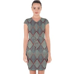Art Deco Teal Brown Capsleeve Drawstring Dress  by 8fugoso
