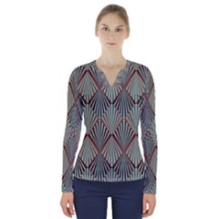 Art Deco Teal Brown V Neck Long Sleeve Top by 8fugoso