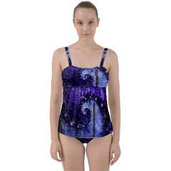 Beautiful Violet Spiral For Nocturne Of Scorpio Twist Front Tankini Set by jayaprime