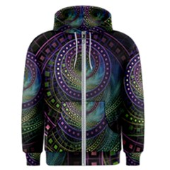 Oz The Great With Technicolor Fractal Rainbow Men s Zipper Hoodie by jayaprime