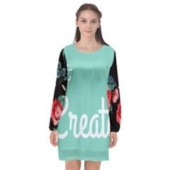 Bloem Logomakr 9f5bze Long Sleeve Chiffon Shift Dress  by createinc