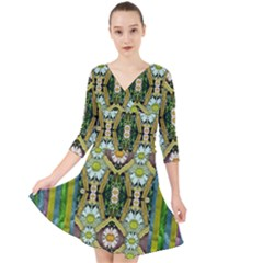 Bread Sticks And Fantasy Flowers In A Rainbow Quarter Sleeve Front Wrap Dress by pepitasart