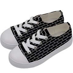 Brick1 Black Marble & White Leather (r) Kids  Low Top Canvas Sneakers by trendistuff