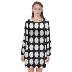 Circles1 Black Marble & White Leather (r) Long Sleeve Chiffon Shift Dress  by trendistuff