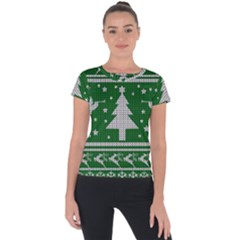 Ugly Christmas Sweater Short Sleeve Sports Top  by Valentinaart