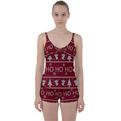 Ugly Christmas Sweater Tie Front Two Piece Tankini by Valentinaart