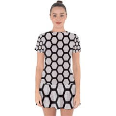 Hexagon2 Black Marble & White Leather Drop Hem Mini Chiffon Dress by trendistuff