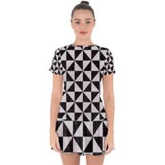 Triangle1 Black Marble & White Leather Drop Hem Mini Chiffon Dress by trendistuff