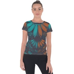 Beautiful Teal And Orange Paisley Fractal Feathers Short Sleeve Sports Top  by jayaprime