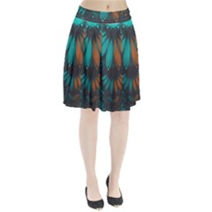 Beautiful Teal And Orange Paisley Fractal Feathers Pleated Skirt by jayaprime