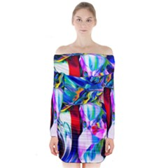 Abstract Acryl Art Long Sleeve Off Shoulder Dress by tarastyle
