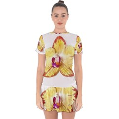 Yellow Phalaenopsis Flower, Floral Aquarel Watercolor Painting Art Drop Hem Mini Chiffon Dress by picsaspassion