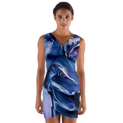 Abstract Acryl Art Wrap Front Bodycon Dress by tarastyle