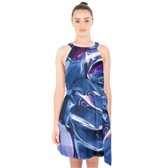 Abstract Acryl Art Halter Collar Waist Tie Chiffon Dress by tarastyle