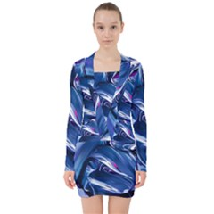 Abstract Acryl Art V Neck Bodycon Long Sleeve Dress by tarastyle