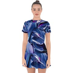 Abstract Acryl Art Drop Hem Mini Chiffon Dress by tarastyle