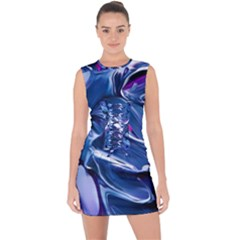 Abstract Acryl Art Lace Up Front Bodycon Dress by tarastyle