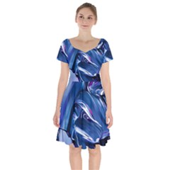 Abstract Acryl Art Short Sleeve Bardot Dress by tarastyle