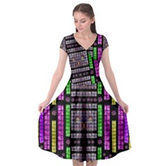 This Is A Cartoon Circle Mouse Cap Sleeve Wrap Front Dress by pepitasart