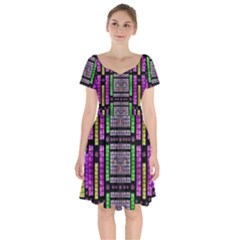 This Is A Cartoon Circle Mouse Short Sleeve Bardot Dress by pepitasart