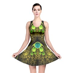 Beautiful Gold And Green Fractal Peacock Feathers Reversible Skater Dress by jayaprime