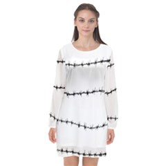 Barbed Wire Black Long Sleeve Chiffon Shift Dress  by Mariart