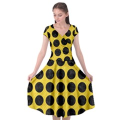 Circles1 Black Marble & Yellow Colored Pencil Cap Sleeve Wrap Front Dress by trendistuff