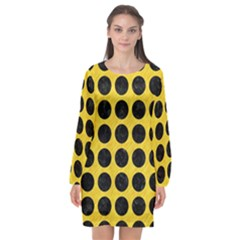 Circles1 Black Marble & Yellow Colored Pencil Long Sleeve Chiffon Shift Dress  by trendistuff